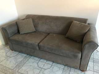 Sofa Bed Velvet with Two Cushions