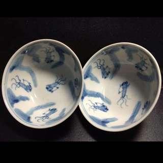 聽雨樓:#QQH-0090:【清】清代紫金醬釉內青花魚藻紋大碗一對