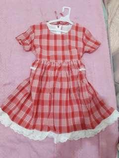 🚚 全新 大童 公主 可愛 寶貝 紅色 氣質 格紋 短裙 裙子 夏天 小洋裝 女生 女孩 童裝 花僮  小洋裝