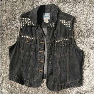 Denim Vintage Studded Rocker Vest for Guys or Girls