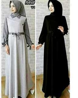 WDD - 0418 - Dress Gamis Busana Muslim Wanita Trio Maxi