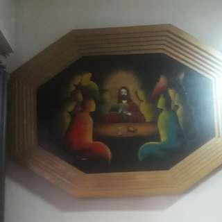 """antique last supper wall decor 32wx22""""l"""