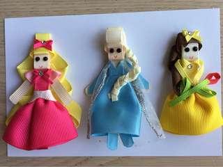 Hand made Princess 👸🏻 kids hair clips (3 pieces)