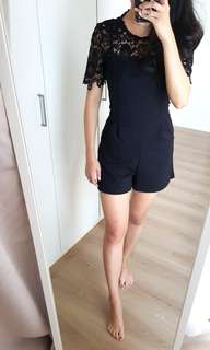 Miss Selfridge New Black Lace Playsuit