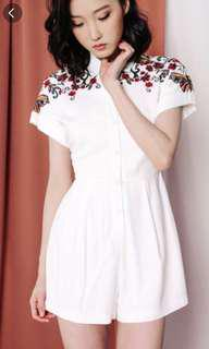 Moira Embroidery Playsuit in White