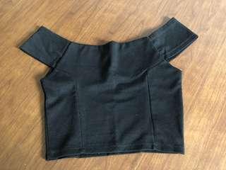 Sabrina boat neck black hitam atasan baju cewek crop top