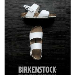 Sandal Birkenstock women Ban 2 Gesper Belakang Putih.
