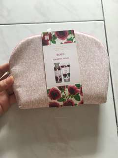 M&S rose cosmetic pouch with bath and shower cream
