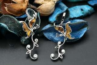 Navia Jewelry - Real Butterfly Wing Jewelry Urania ripheus Silver Earrings Korea