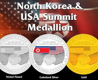 Full Set Donald Trump Kim Medallions 1st Issue