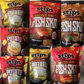 Stips Chips Salted Egg Potato Chips and Fish Skin