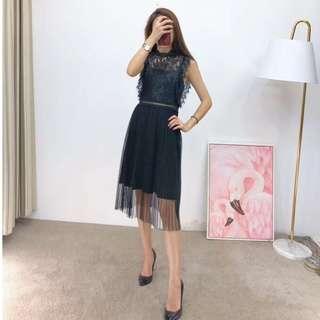 2018年Red Valentino 蕾絲拼接洋裝 連身裙 黑色