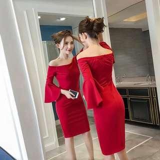 Off Shoulder Red/Black Dress