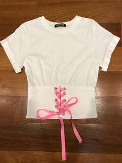 White blouse / t shirt with corset lace up detail (from Korea)