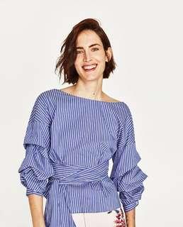 Zara Stripes Wrap Top