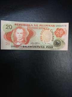 Philippines 20 pesos piso ang bagong lipunam overprint