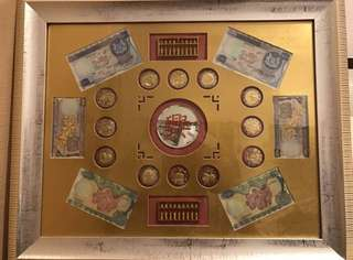 1967 1st generation Orchid series series currency issue in Singapore. Heng Heng Money Come....💰 💰💰 Framed and kept well in good condition.