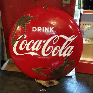 BIG ENAMEL COCA COLA  BUTTON SIGN