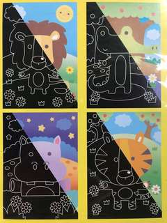 Scratch Art <Pack of 4> Animals