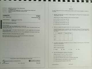 H2 Chemistry 'A' Level Papers