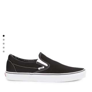 NEW - Vans Slip On Black / White Original