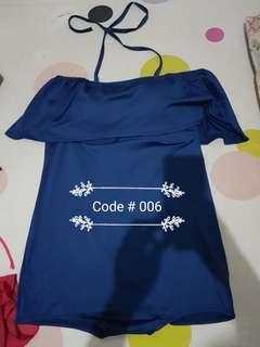 Plus Size Navy Blue One Piece Swimwear