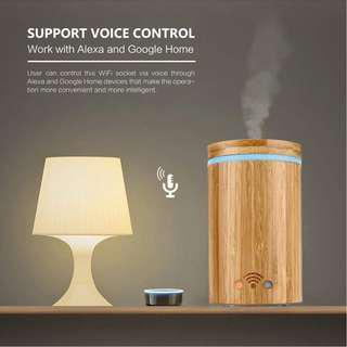698. Smart Wi-Fi Essential Oil Diffuser Bamboo Aroma Humidifier Works with Amazon Alexa
