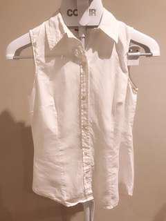 White collared sleeveless top