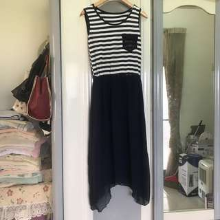 韓 韓風 日 日系 條紋 海灘風 休閒風 長洋裝 背心洋裝 無袖洋裝 紗裙 長裙 縮腰 海灘風 拼接 內裡 緞面 不規則
