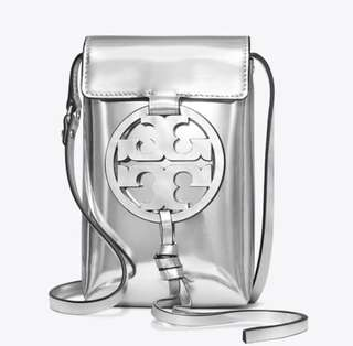 Tory Burch silver phone bag
