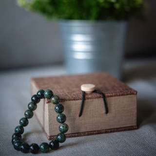 Natural Rhyolite Stretch Bracelet (10mm) with Wooden Box