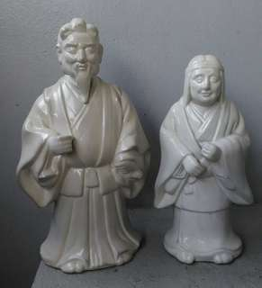 🚚 日本九谷白瓷高砂夫婦置物一對
