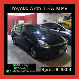 Toyota Wish MPV - Grab Car Rental, Uber welcomed