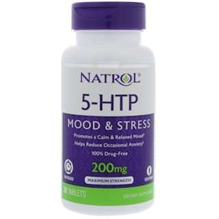 READY STOCK Natrol, 5-HTP, Time Release, Maximum Strength, 200 mg, 30 Tablets