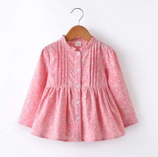 Girls solid color printing doll skirt long sleeve dress