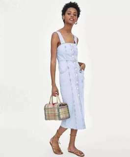 OshareGirl 06 歐美女士純色淺藍牛仔長裙吊帶裙