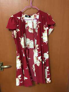 Kimono wrap tied floral wine red dress