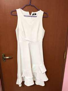 LBRLABEL white overlay dress