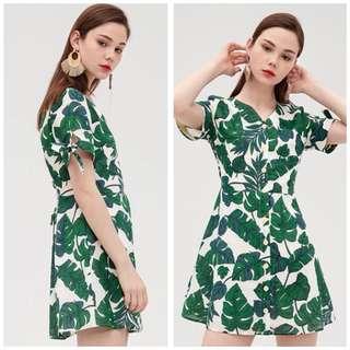 OshareGirl 06 歐美女士印花熱帶雨林連身裙洋裝