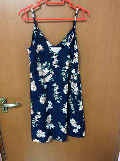 Slip on floral navy blue dress