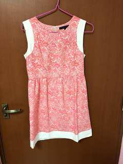 Crochet floral embroidered dress pink white