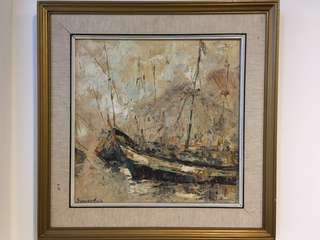 🚚 Oil Painting - Wooden boats #CarouPay