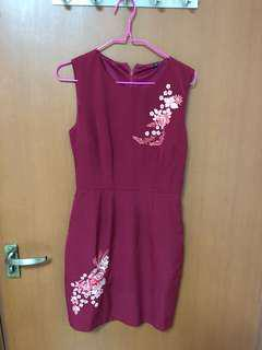 Wine red floral embroidered dress