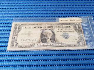 1957 A United States $1 Silver Certificate G 14577045 A Washington D.C. Blue Seal