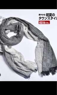 日系棉麻黑白/藍白間條紋男女薄款圍巾