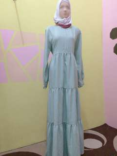 SALE! Gamis dress susun warna pastel hijau