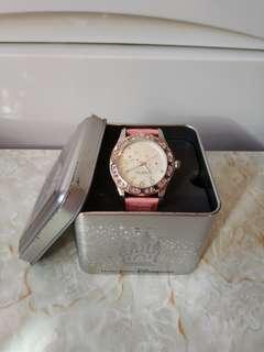 大特價平放低至半價香港迪士尼 Disneyland 正版粉紅色閃石真皮手錶