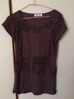 🚚 紫色豹紋圖案流蘇上衣