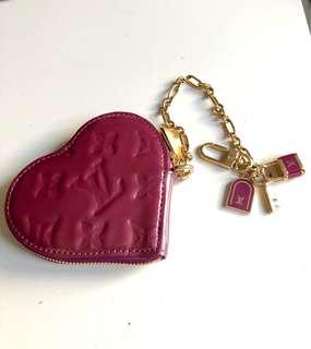 Louis Vuitton Burgundy Monogram Vernis heart coin purse