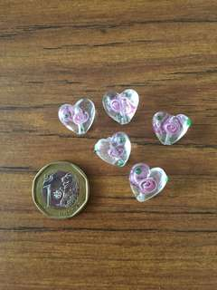 Heart shaped glass beads with rose